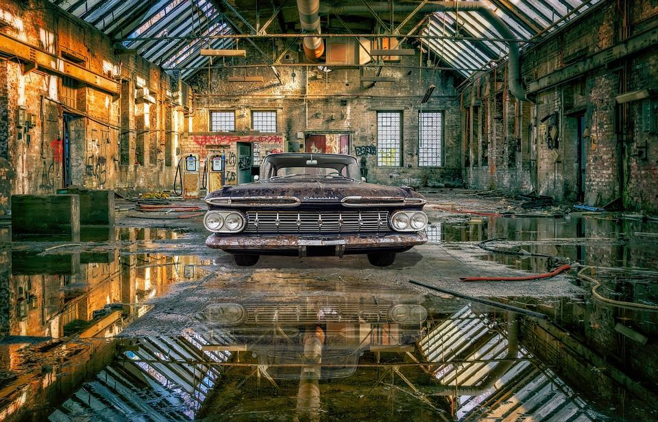 Hall, Factory, Mirroring, Symmetry, Lost Places