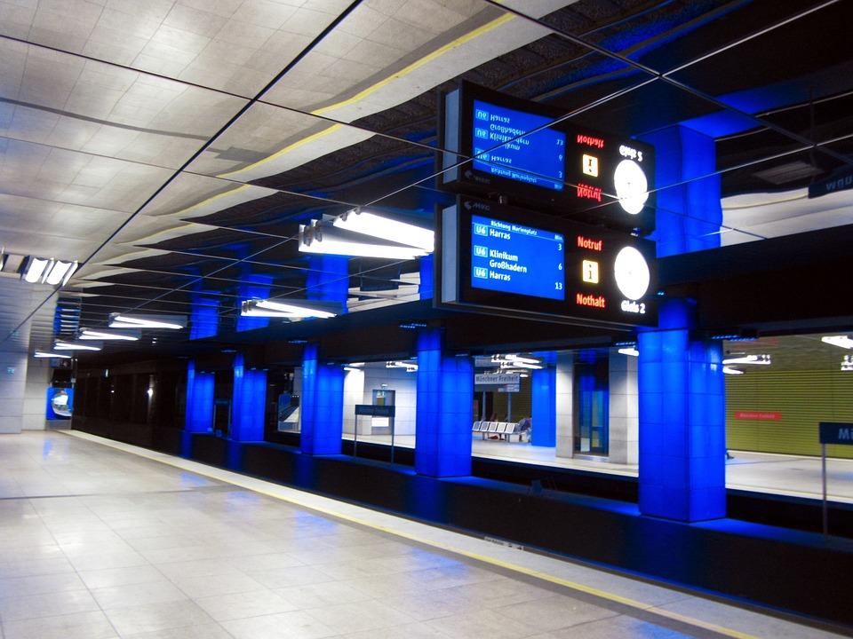 Munich, Metro, Tube, Munich Liberty, Mirroring, Blue