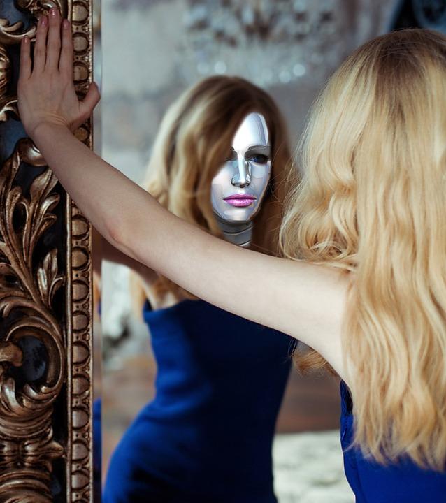 Girl, Woman, Blonde, Young, Robot, Mirroring