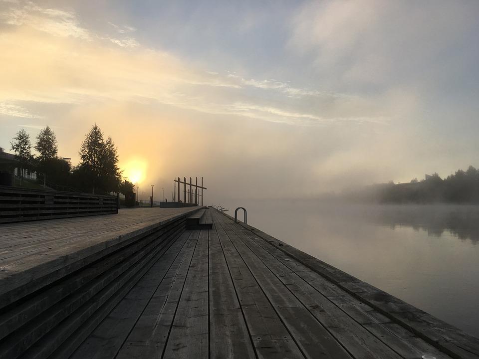 Skellefteå, Mist, Bridge, Water, Sweden, Autumn