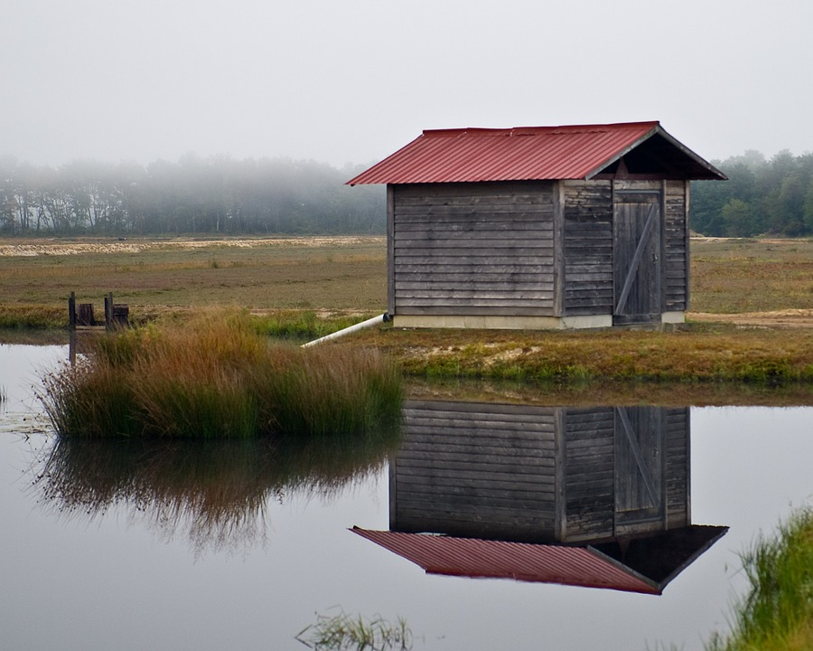 Shed, Lonely, Foggy, Misty, Lake, Reflection, Reflexion