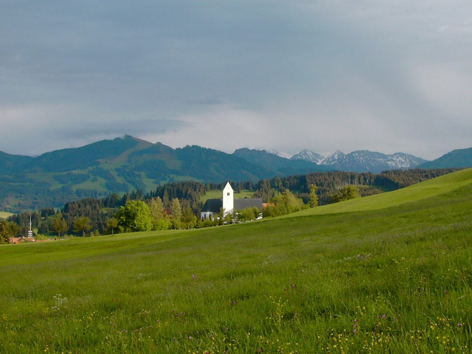 Mountain Panorama, Church, Mittelberg, Oy Mittelberg