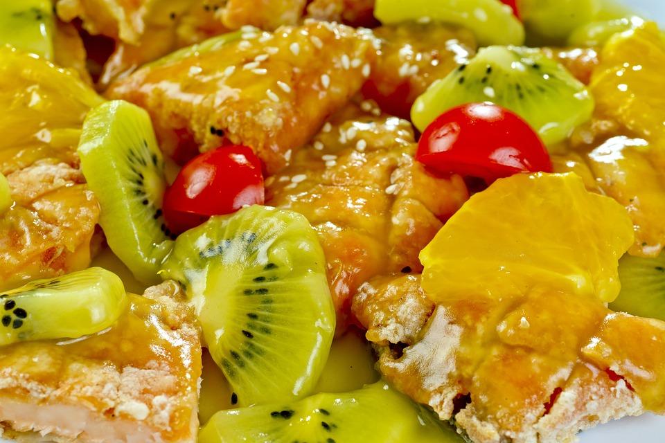 Salmon, Kiwi, Fry, Mix, Grilled, Dish, Vegetables, Food