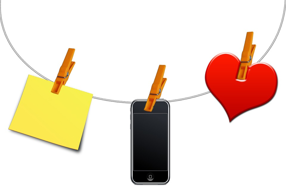Clothes Line, Clip, Note, Mobile Phone, Heart