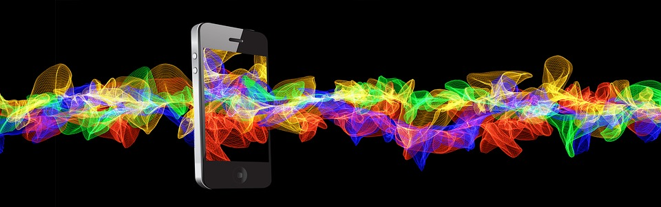 Mobile Phone, Smartphone, Particles, Wave, Color