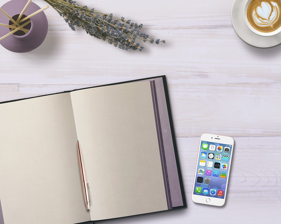 Diary, Mobile Phone, Table, Flowers, Coffee, Decoration
