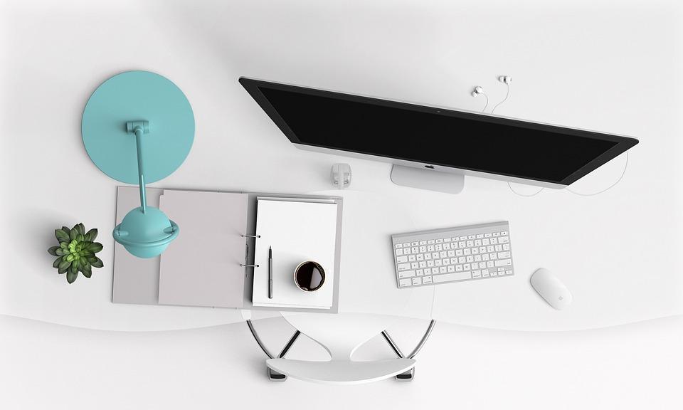 Desk, Computer, Modern, Keyboard, Screen, Mockup