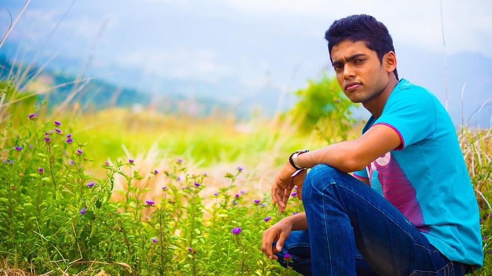 Portrait, Male, Teen, Boy, Man, Model, Outdoors, Field