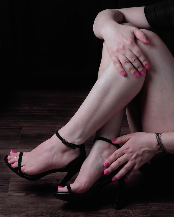 Feet, Hands, Model, Black Dress, Legs, Sitting