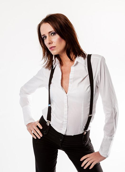 Model, Pose, Woman, Attractive, White Shirt