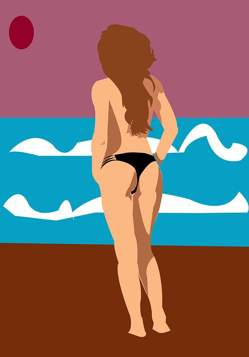 Woman, Nude, Bikini, Body, Model, Legs, Beach, Sea