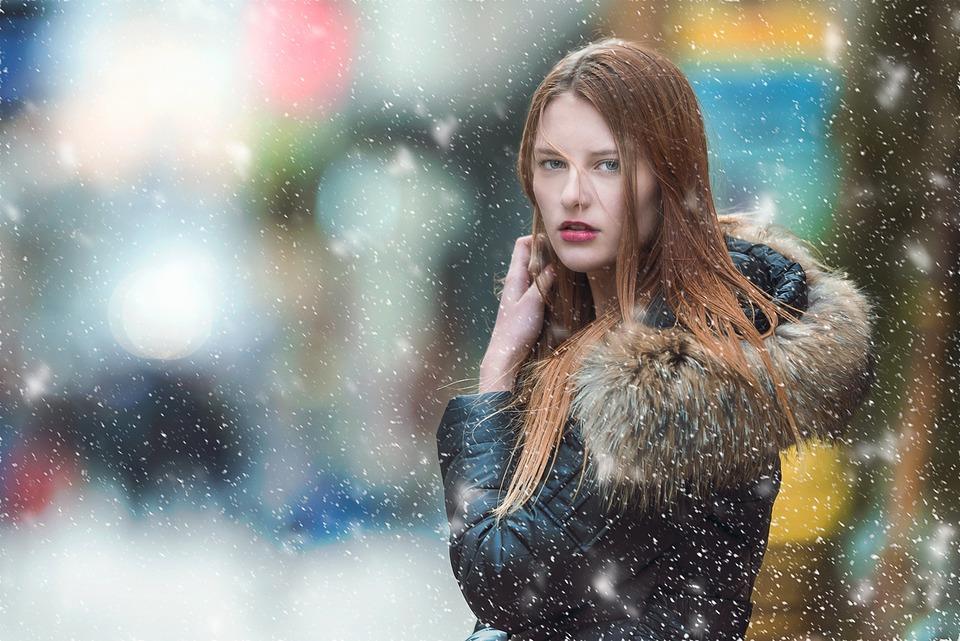 Woman, Model, Fashion, Portrait, Snowing, Snowfall