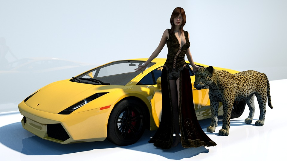 Yellow, Woman, Sexy, Model, Leopard, Sports Car, Colour