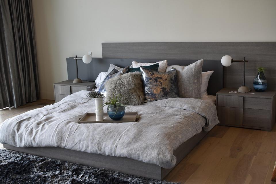 Free photo modern bedroom furniture home bed interior design max