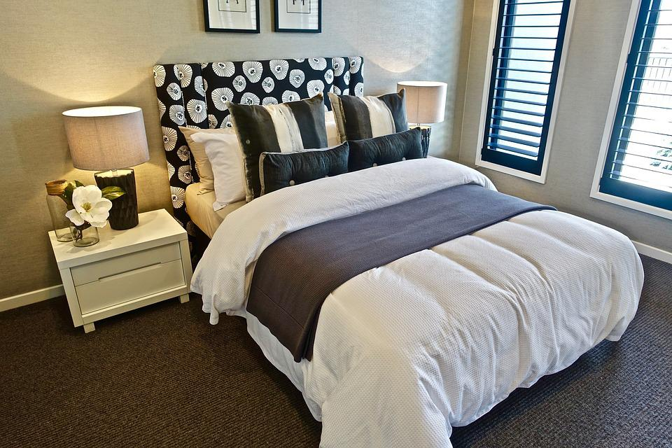 Bed, Bedroom, Pillows, Design, Modern, Comfort