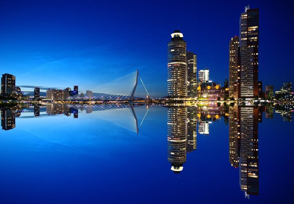 Skyscrapers, Bridge, Port, Skyline, Modern