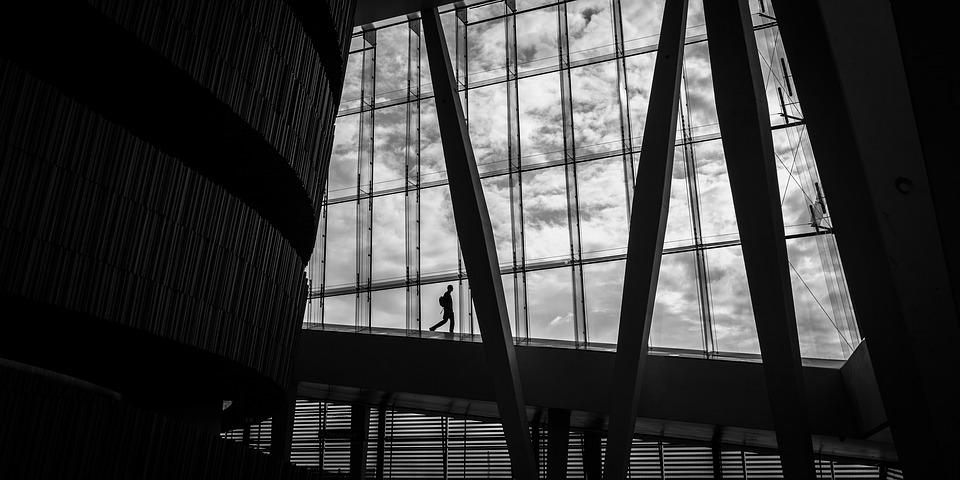 Architecture, Windows, Support, Modern, Black And White