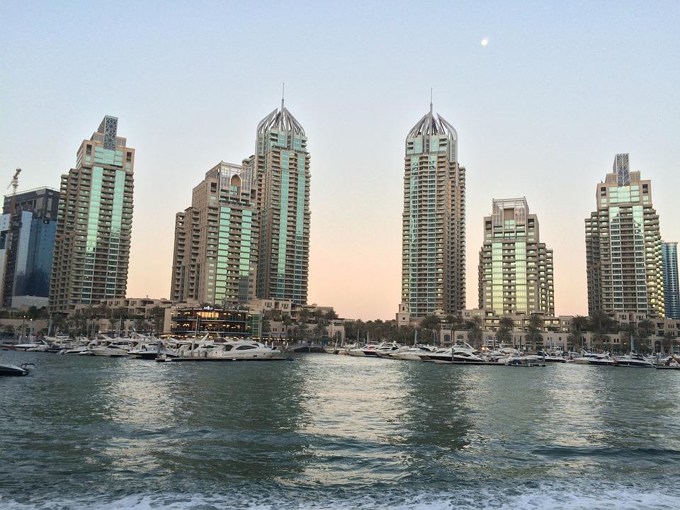 Skyscraper, Dubai, City, Sea, Tower, Modern, Evening