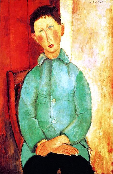 Modigliani, Boy In A Blue Jacket, Impressionism Art