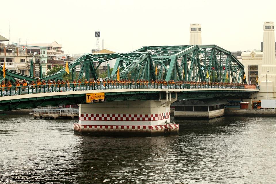 Thailand, Bridge, Bangkok, Mojnks, Walk, Architecture