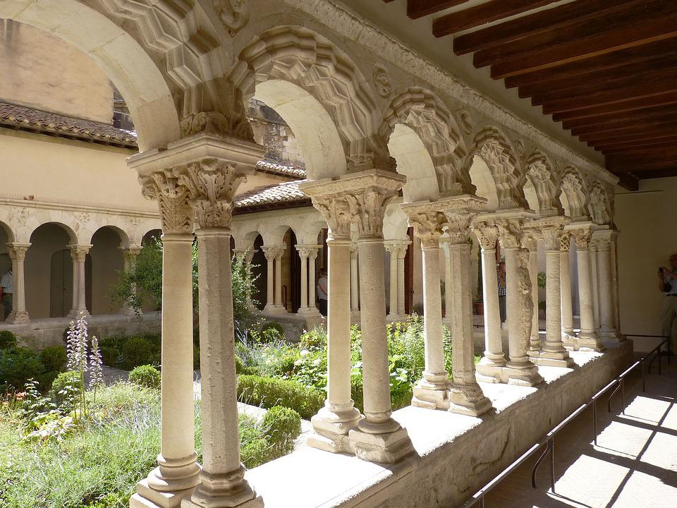 Church, Cloister, Garden, Monastery, Architecture