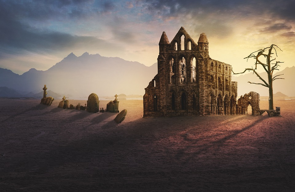 Ruin, Monastery, Graves, Fantasy, Lighting, Sunlight
