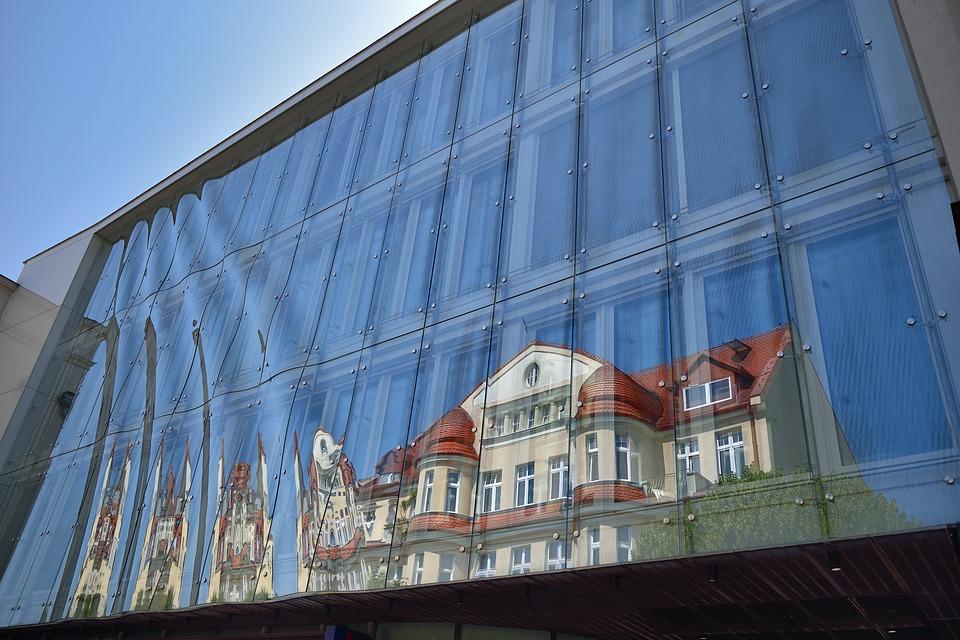 Sopot, Monciak, Banks, Reflection, Glass
