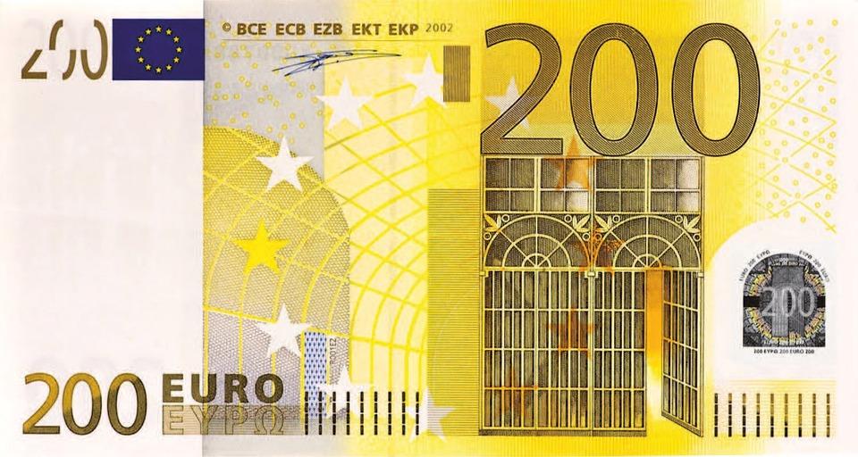Dollar Bill, 200 Euro, Money, Banknote
