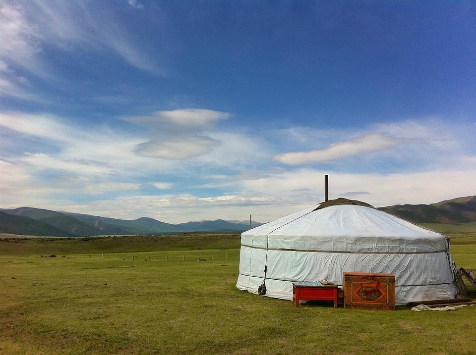 Mongolia, Landscape, Sky, Clouds, Grass, Plants, Tent