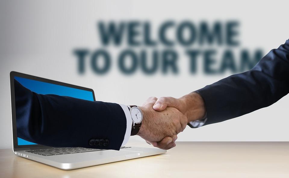 Handshake, Hands, Laptop, Monitor, Online, Digital
