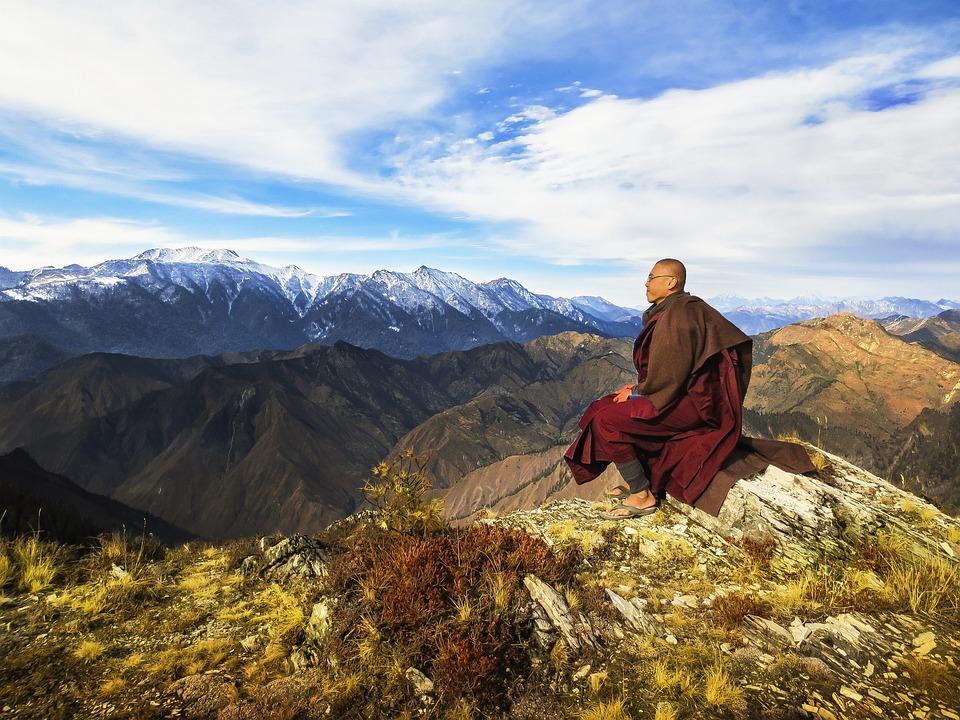 Theravada Buddhism, Monk At Mountain, Monk At Himalaya