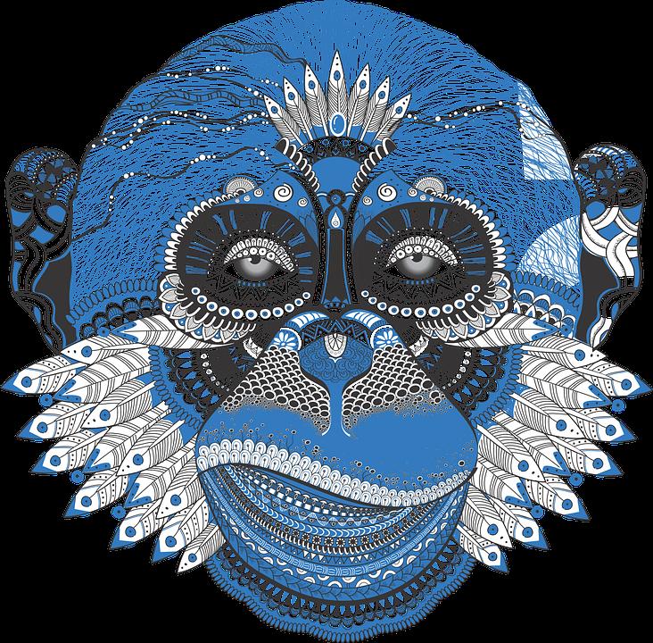 Pattern, Monkey, New Year's Eve, Dudling, Symbol, Blue