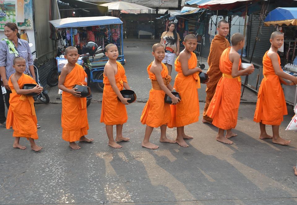Child Monks, Monks, Thailand, Asia, Buddhism, Buddha