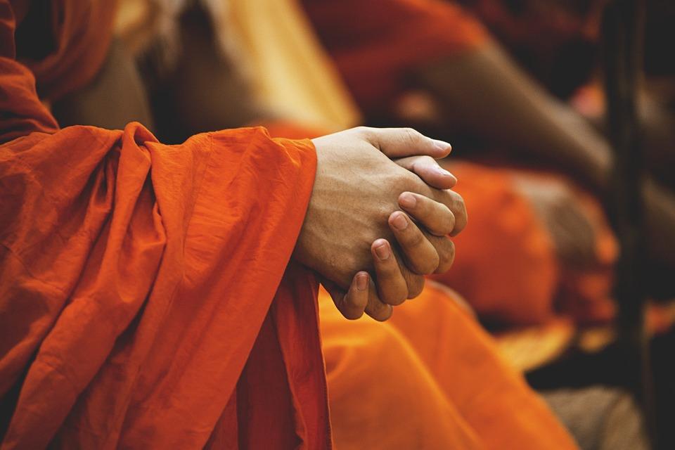 Buddhism, Folded Hands, Monks, Prayer, Ceremony