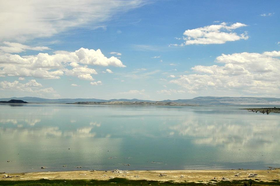 Usa, America, Mono Lake, Water, Reflection, Clouds