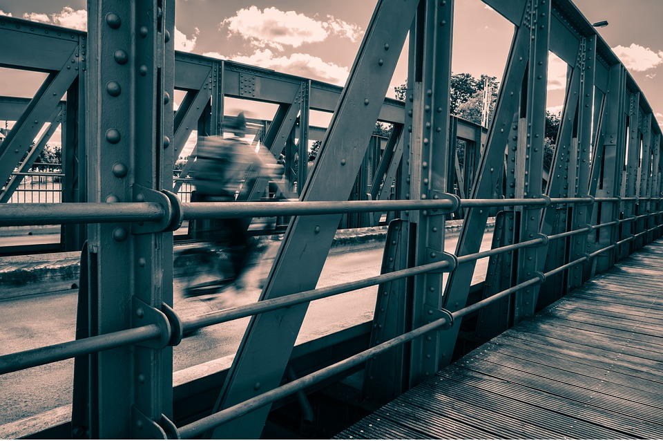 Cyclists, Bridge, Steel, Rivet, Monochrome