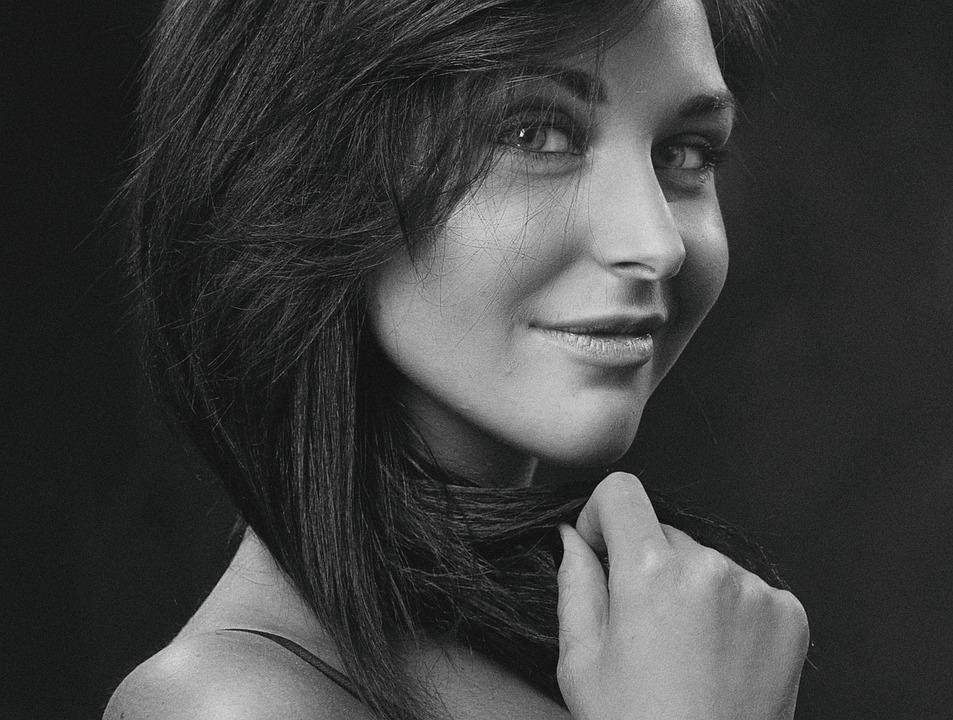 Girl, Monochrome, Retro, Studio, Portrait