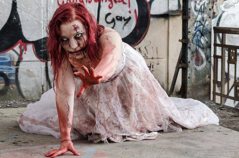 Zombie, Undead, Monster, Horror, Woman, Female, Blood