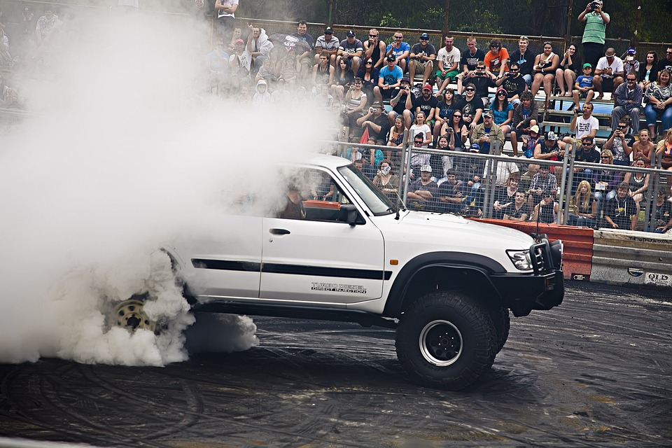 Monster Truck, Truck, 4x4, Burnout, Smoke, Car, Crowd