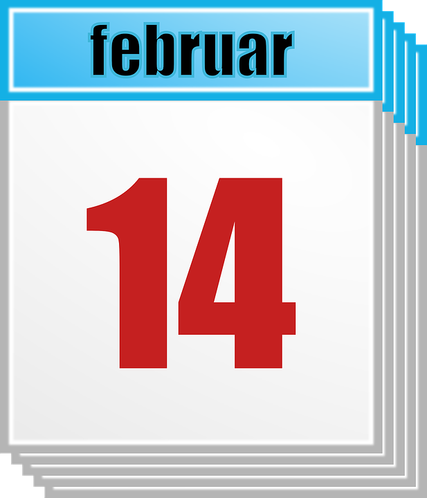 Calendar, February, 14, Day, Date, Month, Valentine