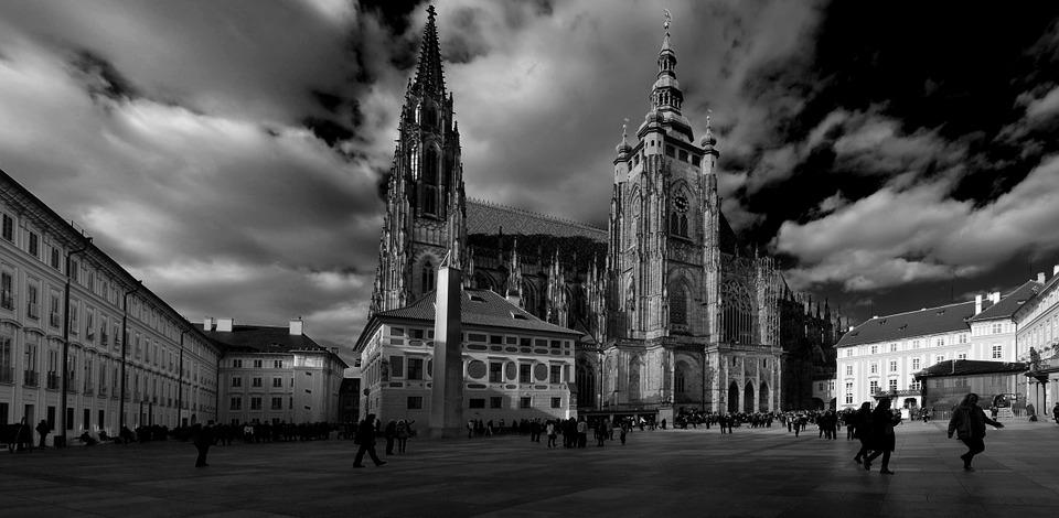 Church Of St Vitus, Black And White, Monument, Prague