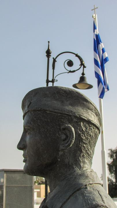 Cyprus, Liopetri, Bust, Monument, Soldier, Memorial