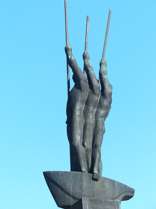 Monument, Bronze, Statue, Men, Boot, Rowing, Paddle