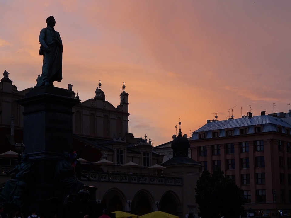 Kraków, Poland, Sunset, The Market, Monument