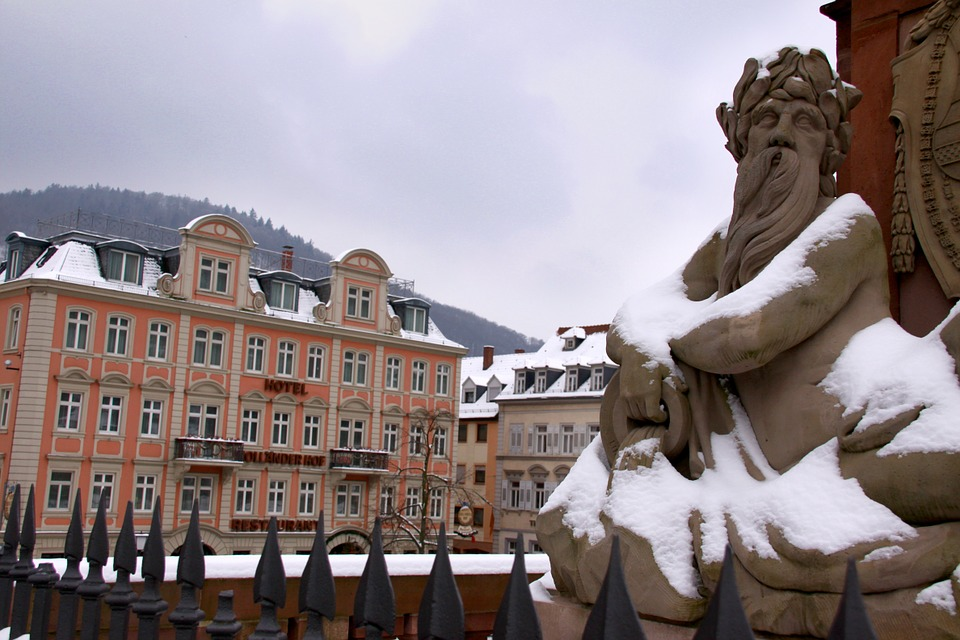 Heidelberg, Old Bridge, Neckar, Monument, Water God