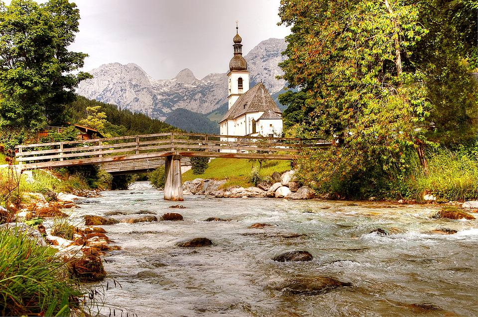 Ramsau, Church, Mountains, Architecture, Alpine, Mood