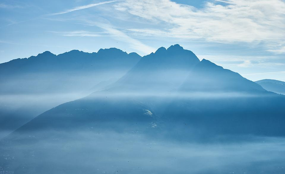 Mountains, Fog, Light Snowfall, Blue, Mood