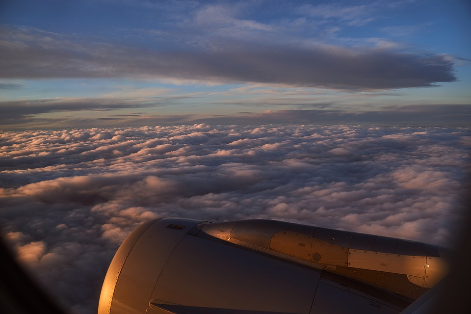 Flight, Sunrise, Sun, Engine, Mood, Dusk, Clouds