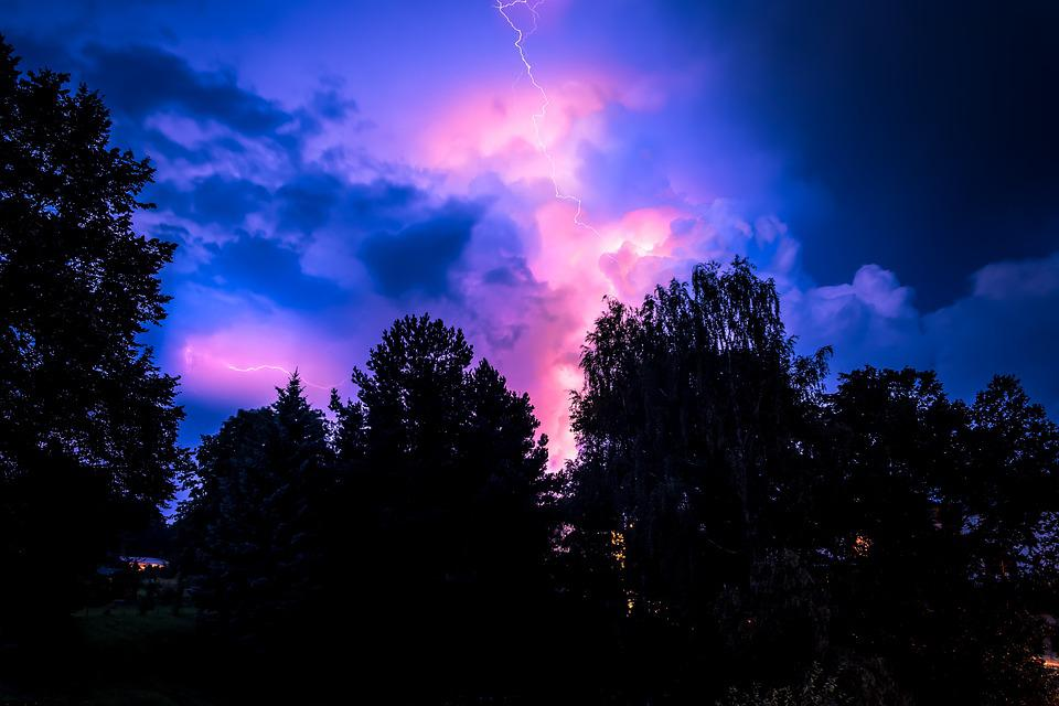 Landscape, Flash, Thunderstorm, Mood, Force Of Nature