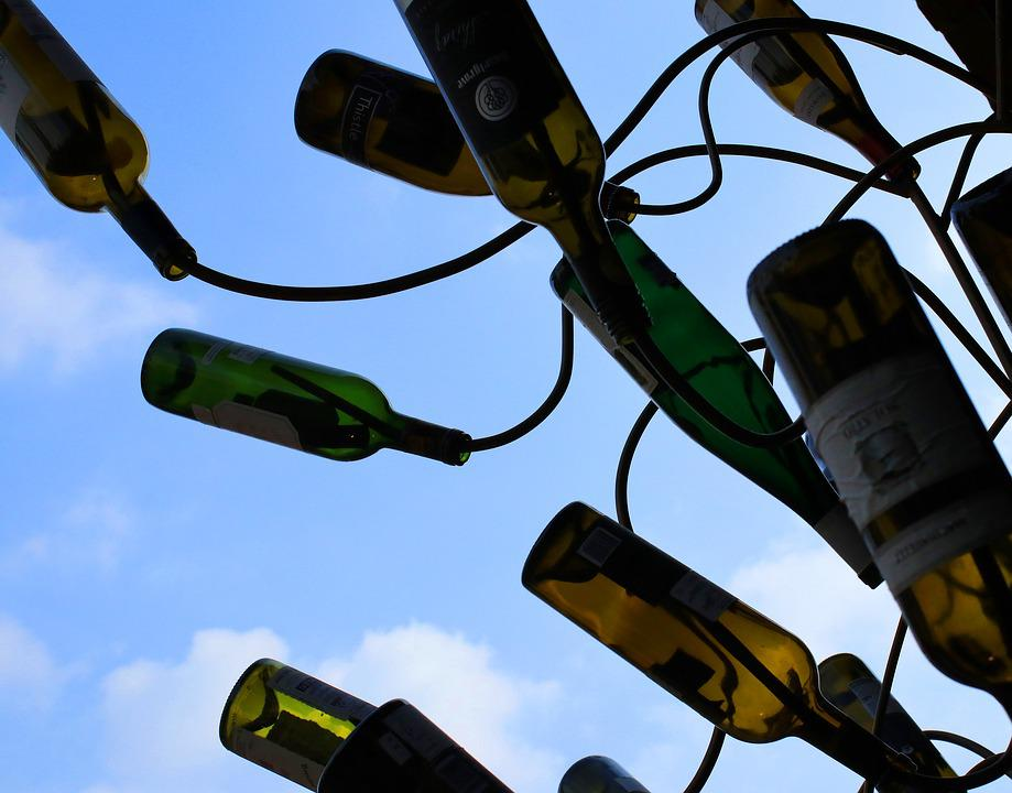 Sky, Wines, Bottle, Grapes, Scenery, Mood, Background